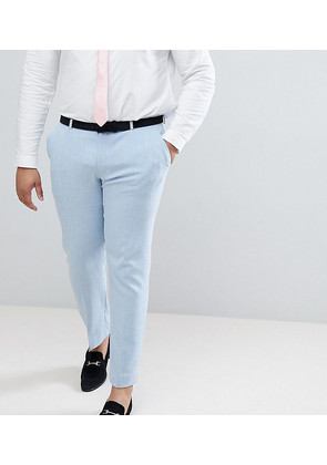 ASOS PLUS Wedding Skinny Suit Trousers In Soft Blue Cross Hatch - Light blue