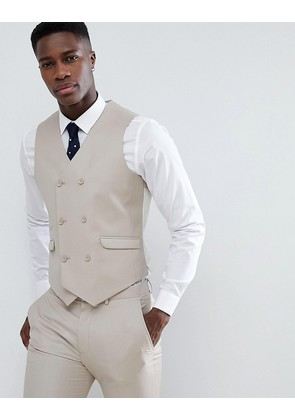 ASOS DESIGN Wedding Slim Suit Waistcoat In Stone 100% Wool - Stone