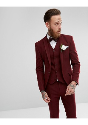 ASOS Wedding Super Skinny Suit Jacket in Wine Herringbone - Burgundy