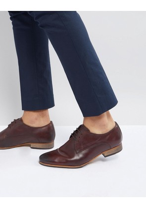 ASOS Lace Up Derby Shoes In Brown Leather With Natural Sole - Brown