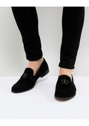 ASOS Loafers In Black Suede With Crown Snaffle - Black