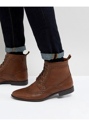 ASOS Brogue Boots In Tan Faux Leather - Tan