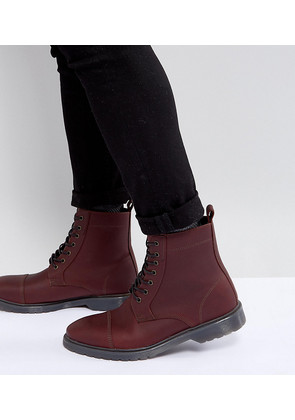 ASOS Wide Fit Lace Up Boots In Burgundy Leather With Ribbed Sole - Burgundy