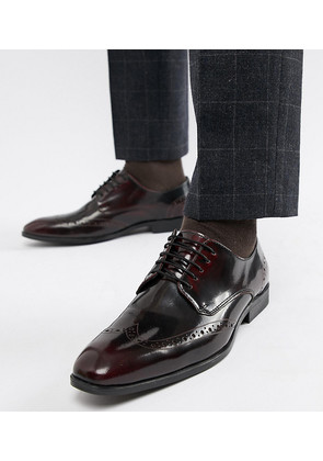 ASOS DESIGN Wide Fit Brogue Shoes In Burgundy Leather - Burgundy