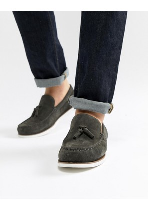ASOS DESIGN Loafers In Grey Suede With White Sole - Grey