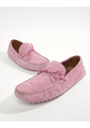 ASOS DESIGN Driving Shoes In Pink Suede With Tie Front - Pink