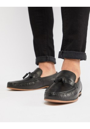 ASOS DESIGN Loafers In Black Leather With Tassel - Black