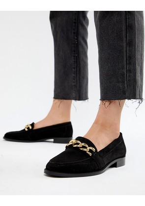 ASOS DESIGN Mighty suede chain loafers - Black