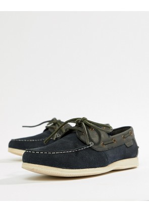 Ben Sherman Boat Shoes In Navy Leather - Blue