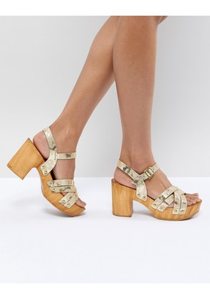 ASOS DESIGN Type Leather Heeled Sandals - Rose gold leather