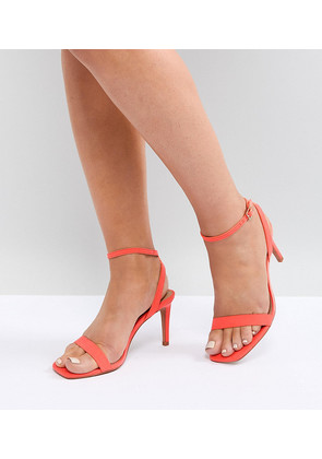 ASOS HALF TIME Wide Fit Barely There Heeled Sandals - Coral