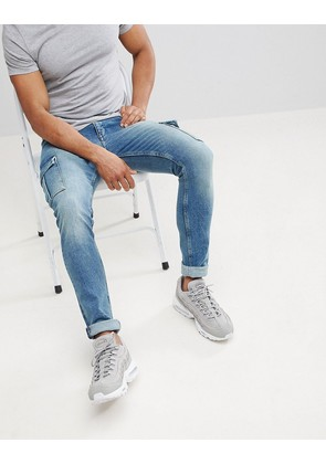 ASOS Super Skinny Jeans In Mid Wash With Cargo Pockets - Mid wash blue