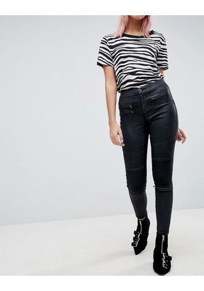 ASOS DESIGN 'Sculpt me' high waisted premium jeans in coated black with biker styling - Black