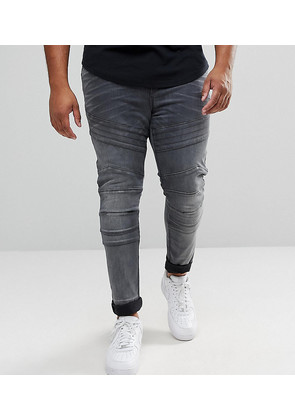 ASOS PLUS Super Skinny Biker Jeans In Washed Black - Washed black