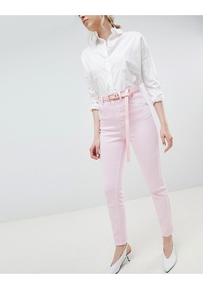 ASOS DESIGN Farleigh high waist mom jeans in washed pink with belt - Pink