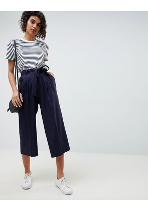 ASOS DESIGN tailored linen culottes with tie waist and turn up - Navy