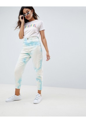 ASOS DESIGN balloon boyfriend jeans in tye dye - Multi