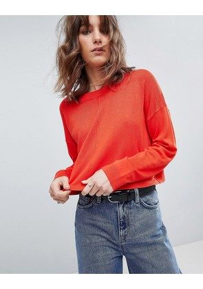 ASOS Oversized Jumper With Seam Detail - Tomato