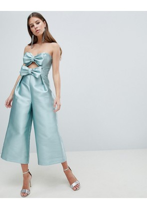 ASOS DESIGN Bow Jumpsuit In Structured Fabric - Blue
