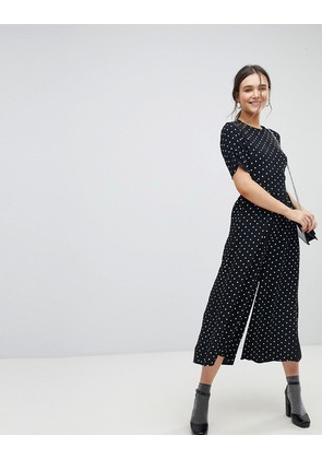 ASOS Tea Jumpsuit with Ruched Sleeve in Spot Print - Spot