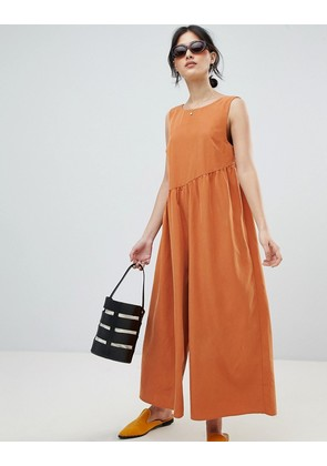ASOS DESIGN Minimal Jumpsuit With Gathered Waist And Wide Leg - Rust