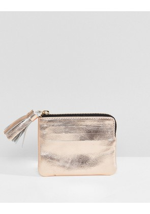 ASOS DESIGN Leather Coin Purse With Tassel - Rose gold