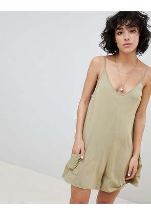 ASOS DESIGN Jersey Minimal Playsuit With Pockets - Washed stone