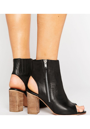 ASOS EARNEST Wide Fit Leather High Ankle Boots - Black