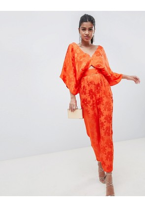 ASOS DESIGN jumpsuit with kimono sleeve and cut out detail in jacquard - Bright orange