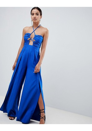ASOS DESIGN jumpsuit with cut out detail in jaquard - Colbalt blue