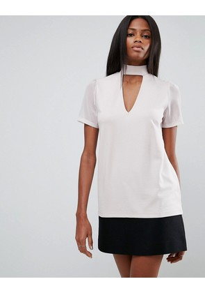 ASOS Top with Choker and Plunge in Ponte with Chiffon Sleeve - Nude pink