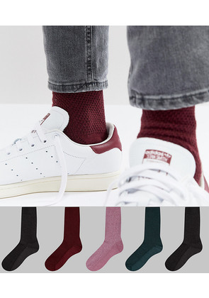 ASOS Waffle Socks In Colours 5 Pack - Multi
