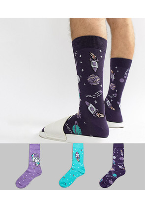 ASOS Socks With Rocket Space Design 3 Pack - Multi