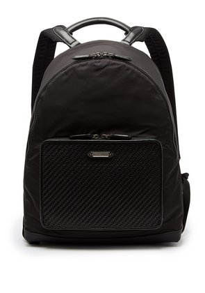 Front-pocket nylon and leather backpack