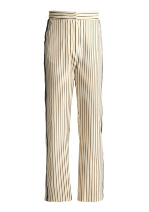 Pinstriped straight-leg cropped crepe trousers