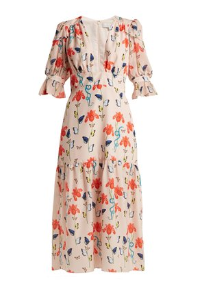 Dhalia floral and firefly-print crepe dress
