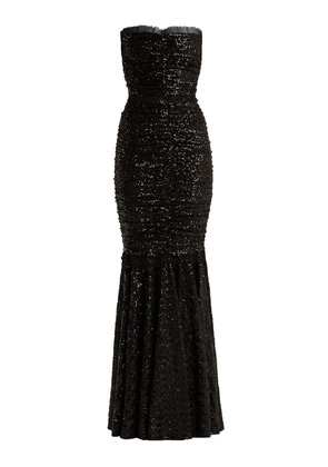 Strapless fishtail sequin-embellished gown