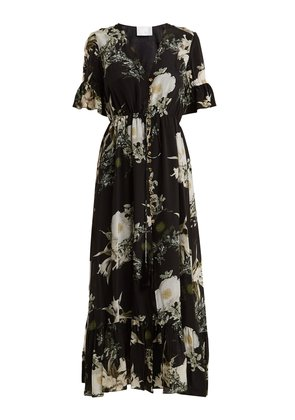 In The Still Of The Night floral-print silk dress