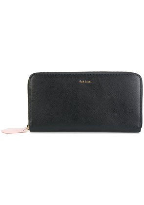 Paul Smith zip-around purse with 'Artist Stripe' interior - Black