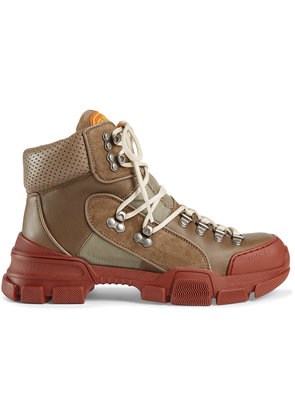 Gucci Leather and canvas trekking boots - Brown