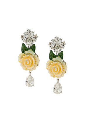 Dolce & Gabbana rose and crystal drop earrings - White