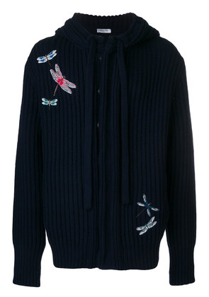 Valentino embroidered hooded sweater - Blue