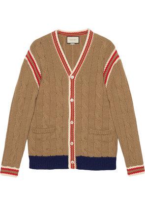 Gucci Cable knit wool cardigan - Brown