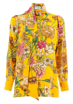 Gucci floral mock neck blouse - Yellow & Orange