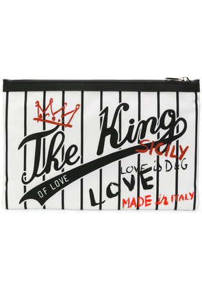 Dolce & Gabbana The King of Love printed clutch - White