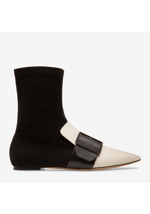 Bally Hossana White, Women's calf leather and suede boot in bone
