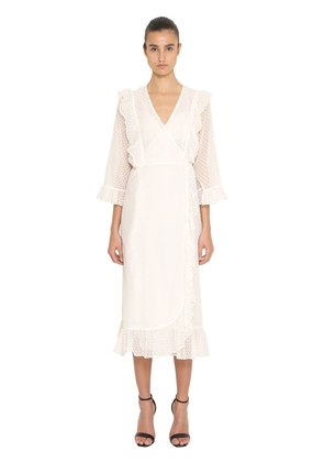 RUFFLED PLUMETIS WRAP MIDI DRESS