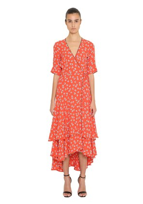 PRINTED RUFFLED CREPE WRAP DRESS