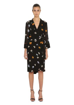 PRINTED WRAP GEORGETTE DRESS