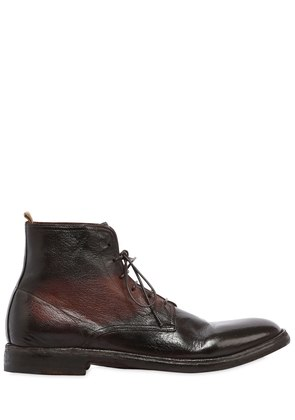 STRIPED LEATHER LACE-UP BOOTS